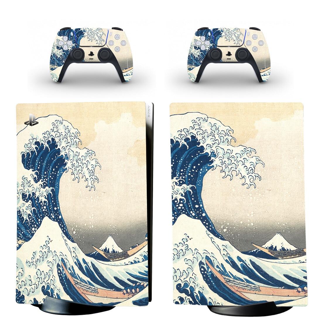غريت ويف PS5 الطبعة الرقمية الجلد ملصق مائي غطاء ل بلاي ستيشن 5 وحدة التحكم وأجهزة التحكم PS5 الجلد ملصق الفينيل