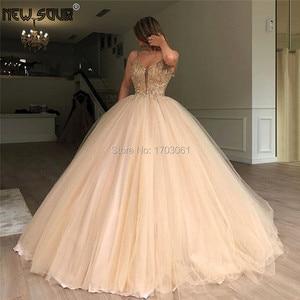 Crystal A Line Evening Dresses Dubai Arabic 2019 Custom Made Appliques Beading Muslim Party Dress Vestidos Soiree New Prom Gowns