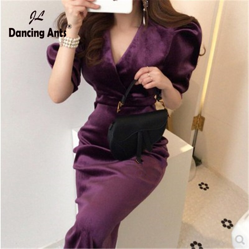 Mulher lápis vestido bodycon sexy vestidos meia manga puff profundo v-neck meados de bezerro vestido de veludo vintage estilo coreano vestidos sólidos