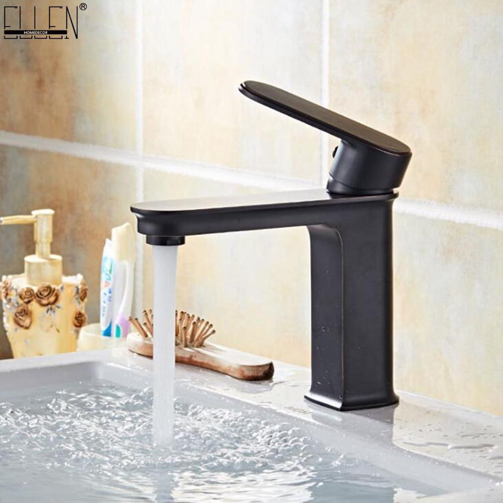 Vidric Hot Cold Mixer Square Faucets Black Bathroom Basin Sink Tap Deck Mounted Faucet Mixer Oil Rubble Bronze Finished ELK1411