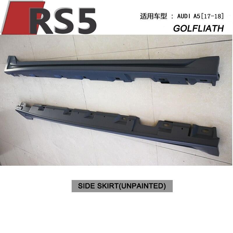 S5 rs5 estilo pp material sem pintura saias laterais corpo kit para audi a5 4-door 2017-2018