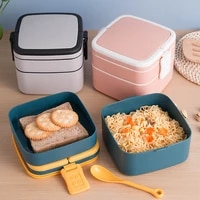 double layer portable lunch box with lid lunch box set japanese style office worker student lunch box microwave heating lunch bo