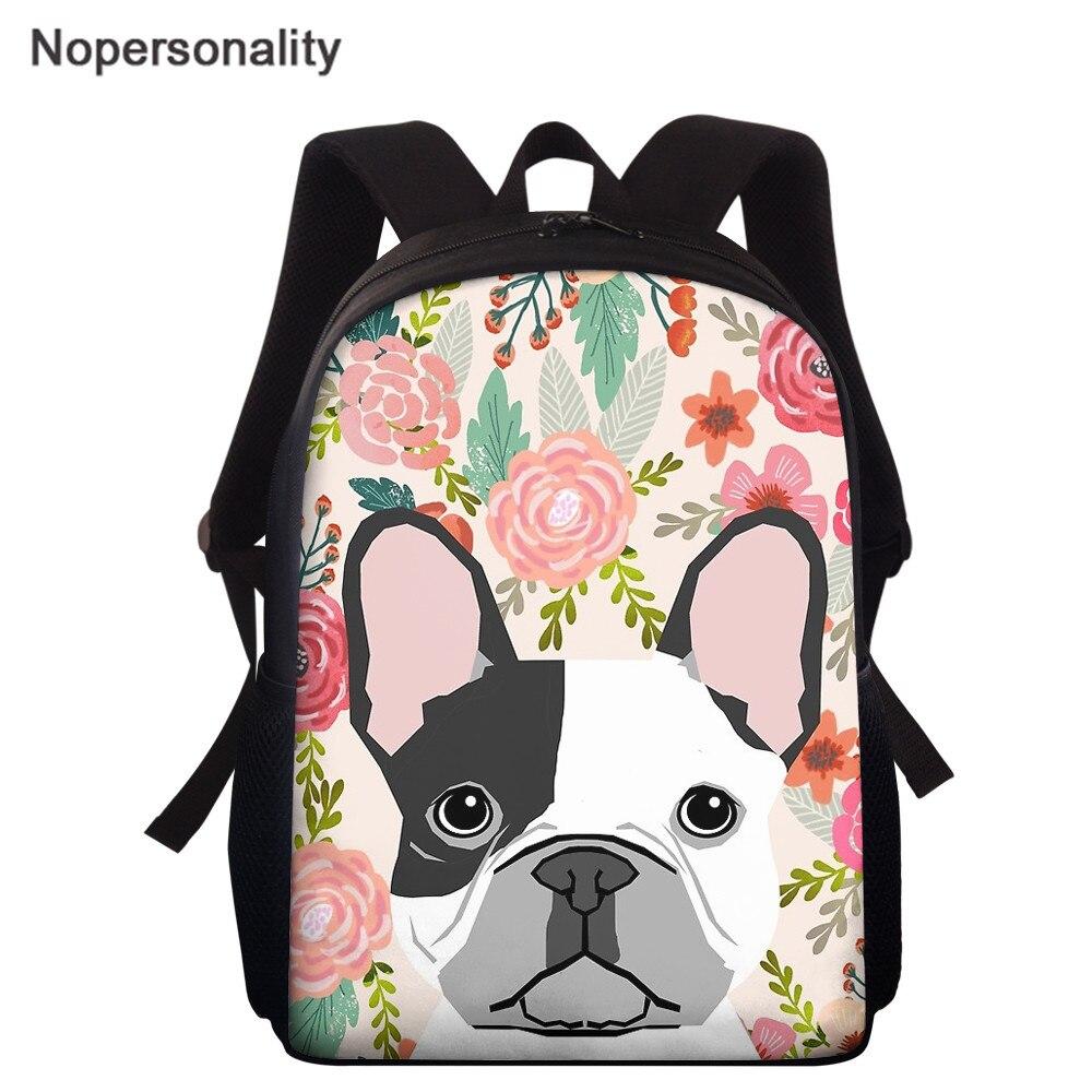 Nopersonality Floral French Bulldog Print School Bag for Kids Backpack Animals Kindergarten Book Bags Capacity Mochila Infantil