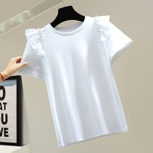 2021 Summer New Japanese Style Loose Casual Women's T-Shirt Fashion Solid Color Beading Round Neck S
