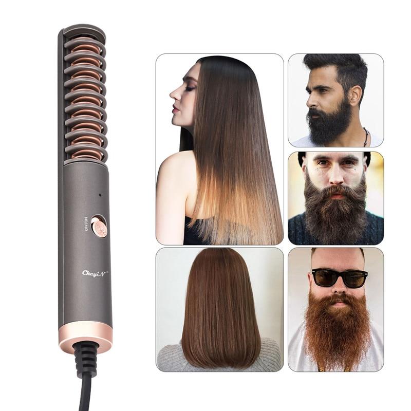 Alisador de pelo eléctrico, cepillo para Barba, peine, alisador de aleación para hombres y mujeres, Estilismo, calor, uso en seco y mojado, temperatura constante