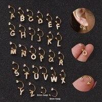creative cz 26 english letters hoop earring cartilage earring helix conch piercing tragus stud earrings