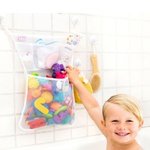 Baby Shower Bath Toys White Baby Kids Toy Storage Mesh with Strong Suction Cups Toy Bag Net Bathroom