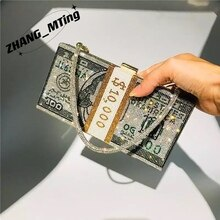 Money Clutch Rhinestone Purse 10000 Dollars Stack of Cash Evening Handbags Shoulder Wedding Dinner B