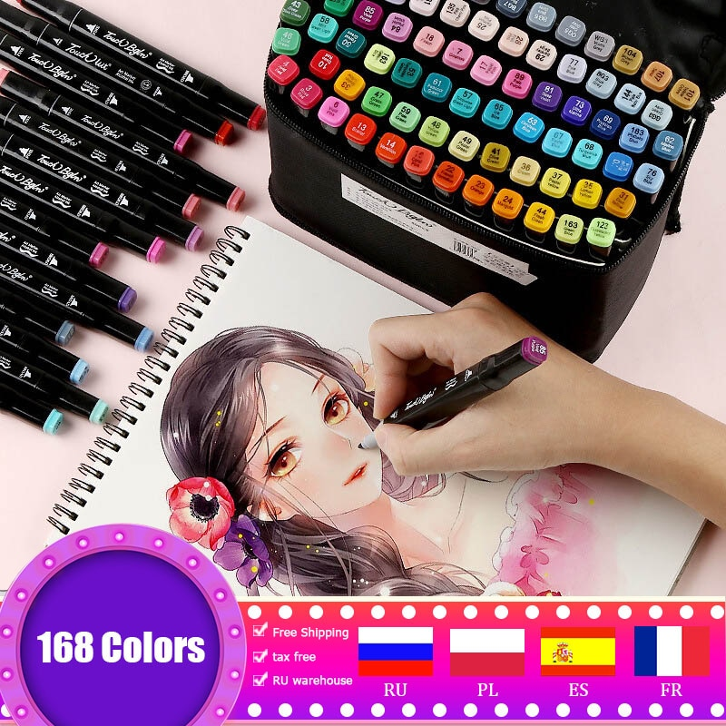 30/80/168/262 Colors Double Headed Marker Pen Set Sketching Oily Tip Alcohol Based Markers For Manga Drawing School Art Supplies