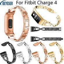 Correa de aleación elegante de lujo para Fitbit Charge 4 correa de muñeca de Metal de repuesto para Fitbit Charge 3 correa de pulsera de diamantes de imitación