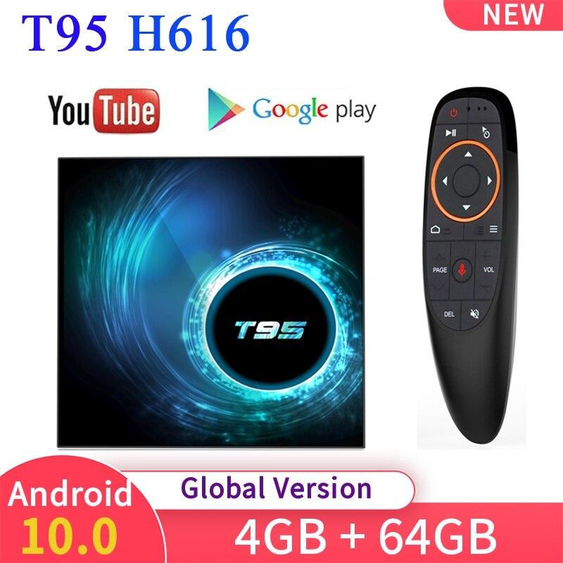 Nuevo Android 10,0 T95 Dispositivo de TV inteligente 6K H616 4GB 32/64GB WIFI Quad Core reproductor de medios de Netflix, Youtube Set top Box PK X96/HK1/H96.