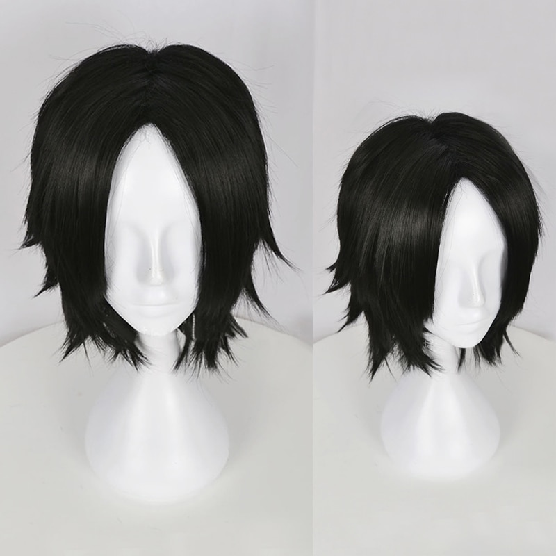 One Piece Portgas D. Ace Short Black Wig Heat Resistant Synthetic Hair Cosplay Wigs + Wig Cap