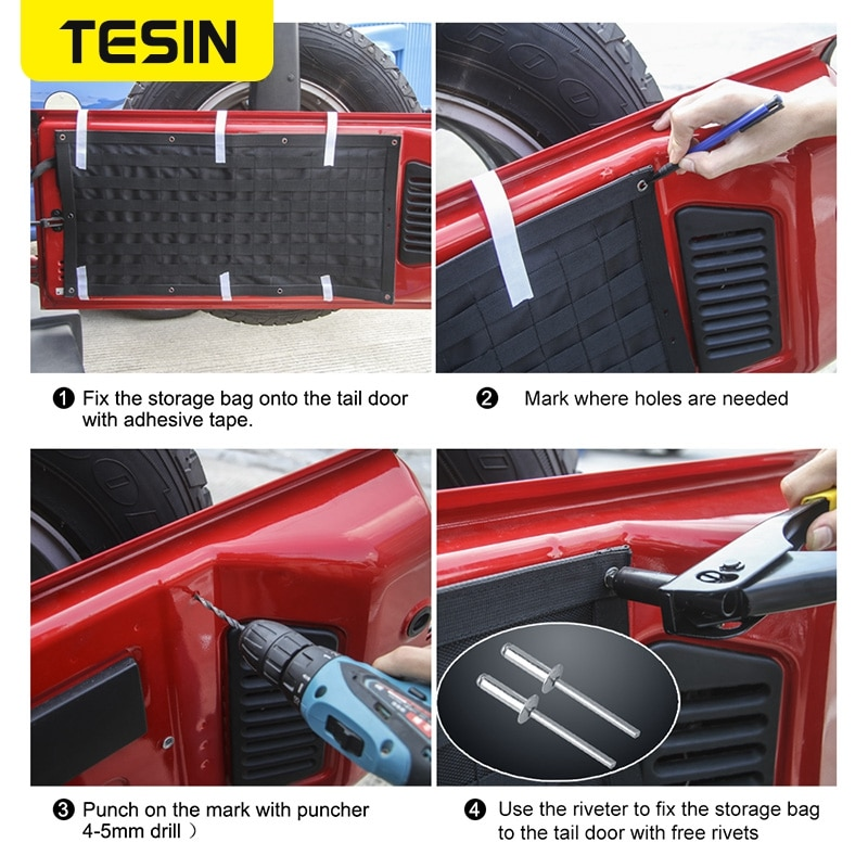 TESIN Car Accessories Tail Door Storage Bags Tool Kit Organizer Camping Mat for Jeep Wrangler JK JL 2007-2018+ enlarge