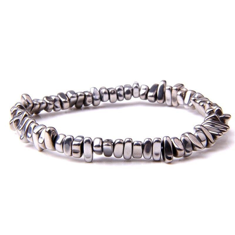Hematita Natural Chips brazaletas con cuentas para hombre de moda 2019 Venta caliente gema en bruto de piedra No magnético grava hematita brazaletes para las mujeres