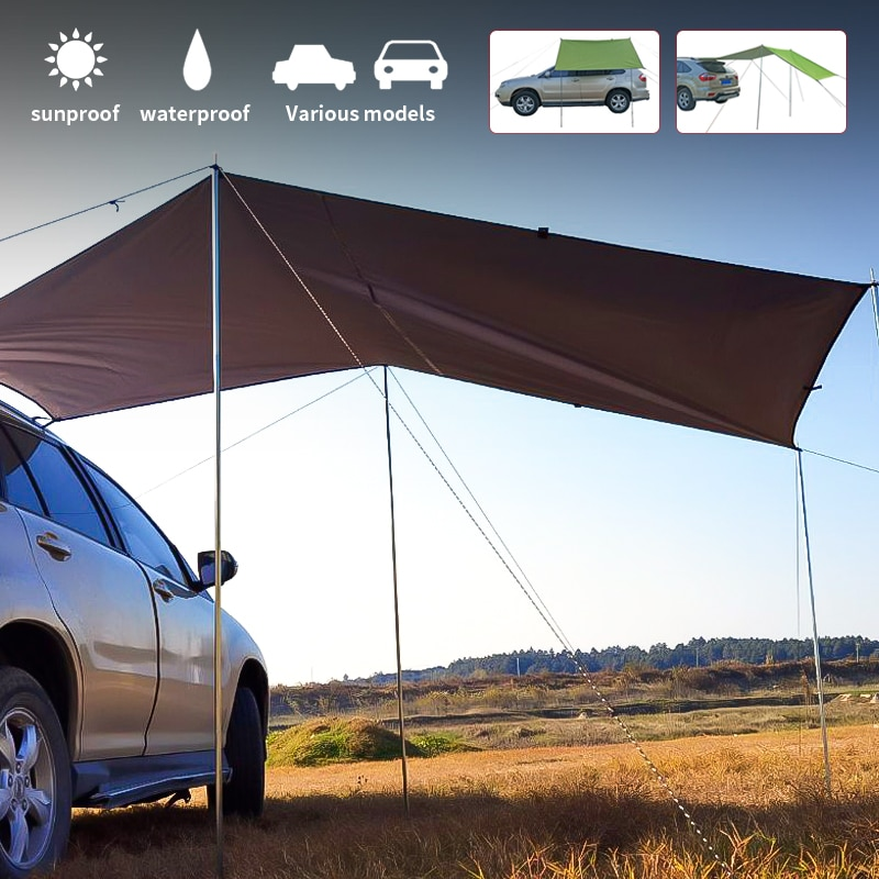 Car Tent Awning Waterproof Portable Outdoor Camping Tent Car Shade Sunshade Garden Beach Umbrella Travel Rooftop Rain Canopy