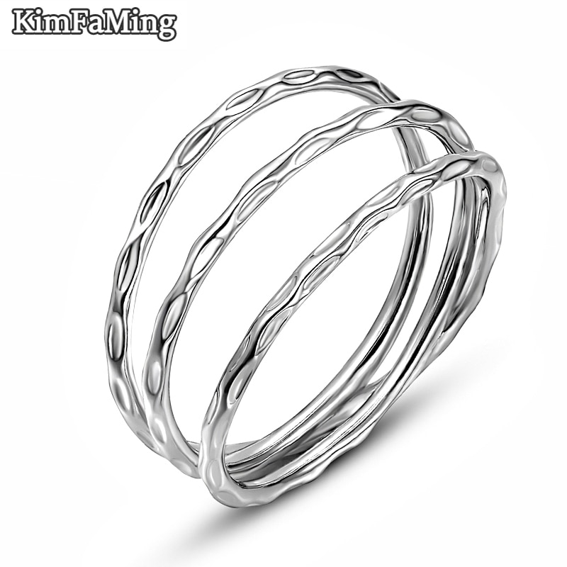 Trendy Real Silver Multi Layer Rings for Women /Men Hammered Plain Jewelry Female Party Casual Finger Accessories NR067