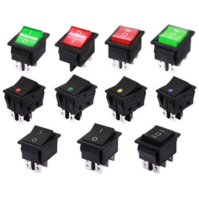 50 قطعة 4Pin 16A 250V KCD4 مفتاح روك الضوء 20A 30A 6Pin ON OFF مفتاح بـزر دفع الأحمر الأخضر الأزرق الطاقة الكهربائية التبديل 25*32 مللي متر
