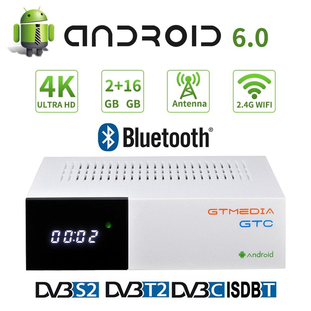 4K UHD GTMEDIA GTC Android 6.0 TV box with 2G+16G Rom supports DVB-S DVB-T DVB-C built in Google Store Smart Android DVB decoder
