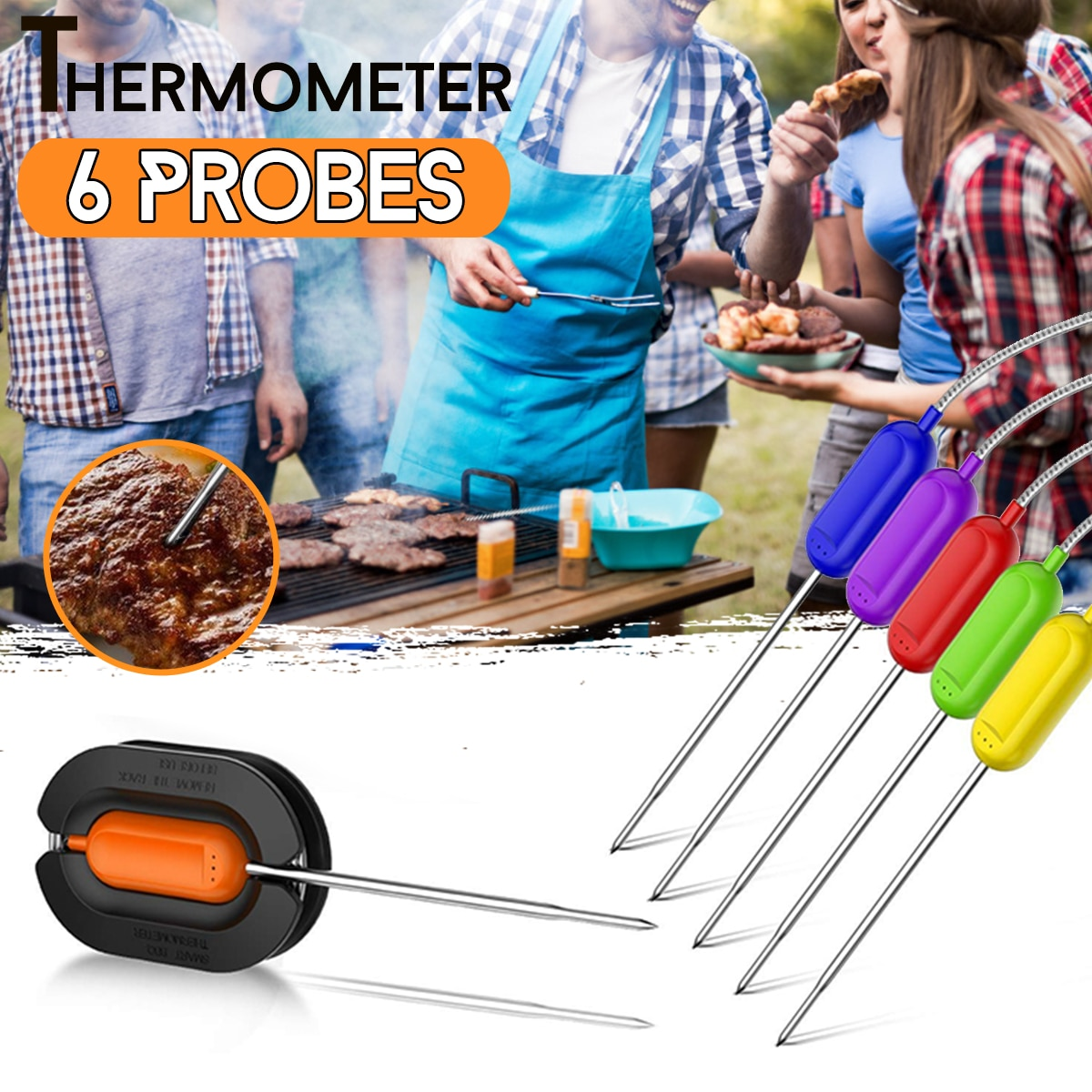 6pcs/set 15cm Digital Wireless Smart BBQ Grill Barbecue Meat Food Cooking Smoker Thermometer Kitchen Tool Stainless Steel Probes