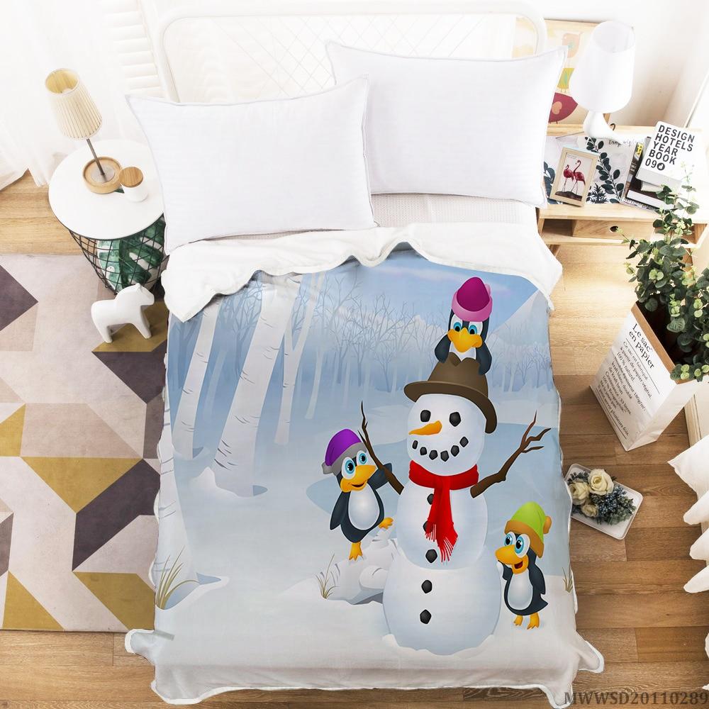 موضة عيد الميلاد الكرتون ثلج البطانيات للأسرة شتاء دافئ النوم أريكة بطانية 150x200cm