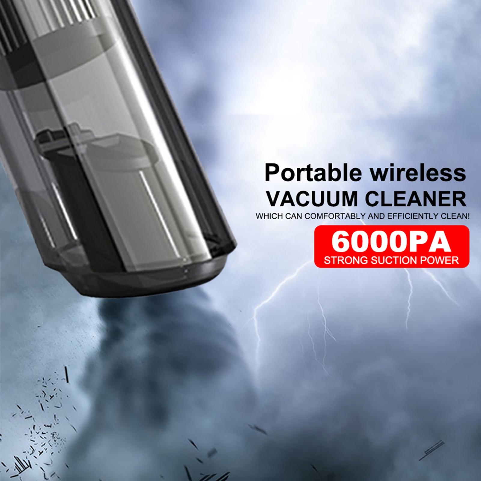 Беспроводной автомобильный пылесос Ai CAR FUN, 120 Вт, 6000 па, беспроводной ручной автомобильный пылесос двойного использования, мини-пылесос