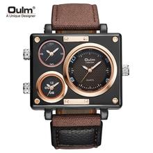 Oulm Big Square Dial Mens Quartz Watches Fashion Blue Canvas Sport Casual Wristwatch Luxury 3 Time Zone Clock relogio masculino