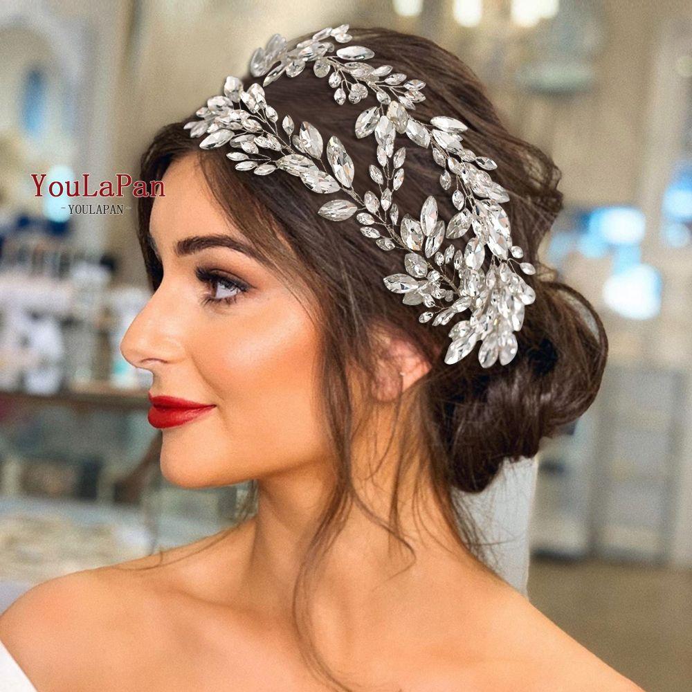 YouLaPan HP304 Bridal Tiaras for Wedding Rhinestone Hair Piece Crystal Headpiece Wedding Headpieces for Bride Hair Jewelry