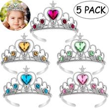 TOYMYTOY 5pcs Kids Princess Tiara Crown Set Girls Dress up Party Accessories
