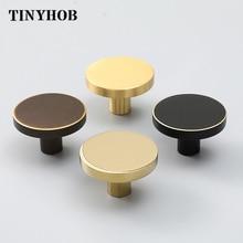 PVD or laiton Simple armoire bouton poignée ronde commode boutons noir laiton tiroir tire bouton cuisine placard boutons