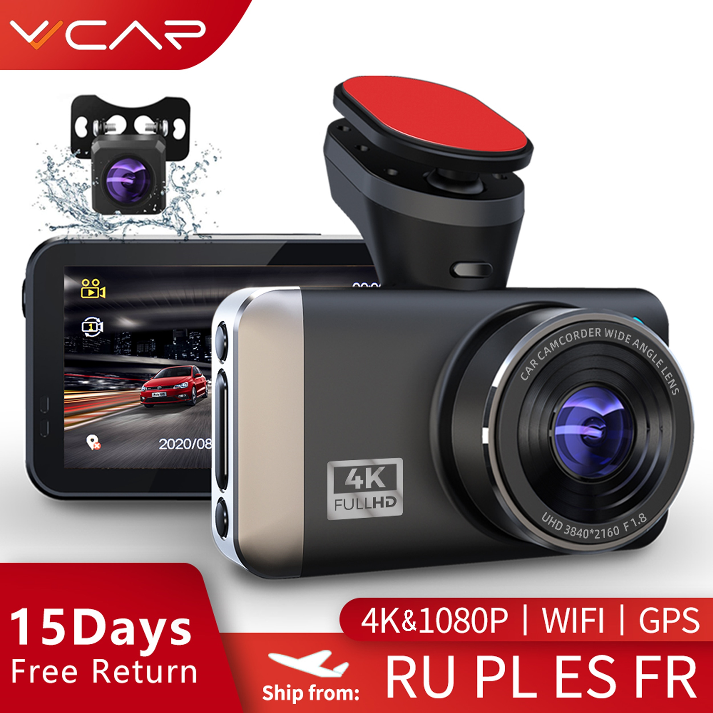 VVCAR D530 جهاز تسجيل فيديو رقمي للسيارات كاميرا 4K + 1080P واي فاي سرعة N نظام تحديد المواقع داشكام داش كام سيارة مسجل سبور للرؤية الليلية