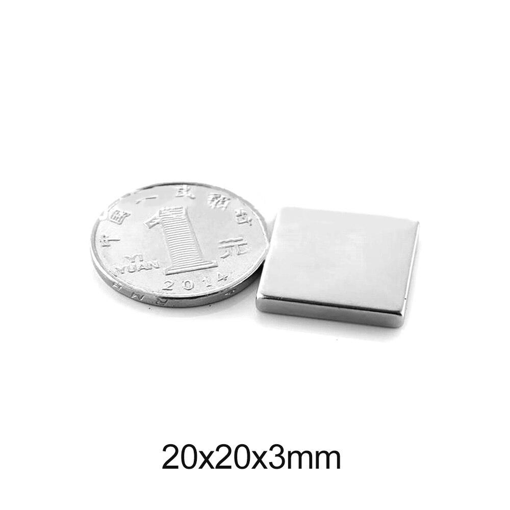 5/10/20/30/50 pces 20x20x3 quadrate ímãs permanentes n35 bloco ímã de neodímio 20x20x3mm poderoso ímã magnético forte 20*20*3