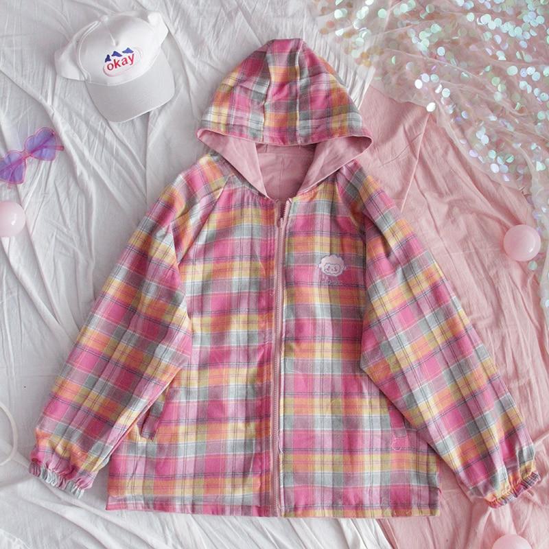 Autumn Wear on Both Sides Coat Girls Korean Harajuku Preppy Soft Sister Vintage Plaid Long Sleeve Short Jacket Women Overcoat