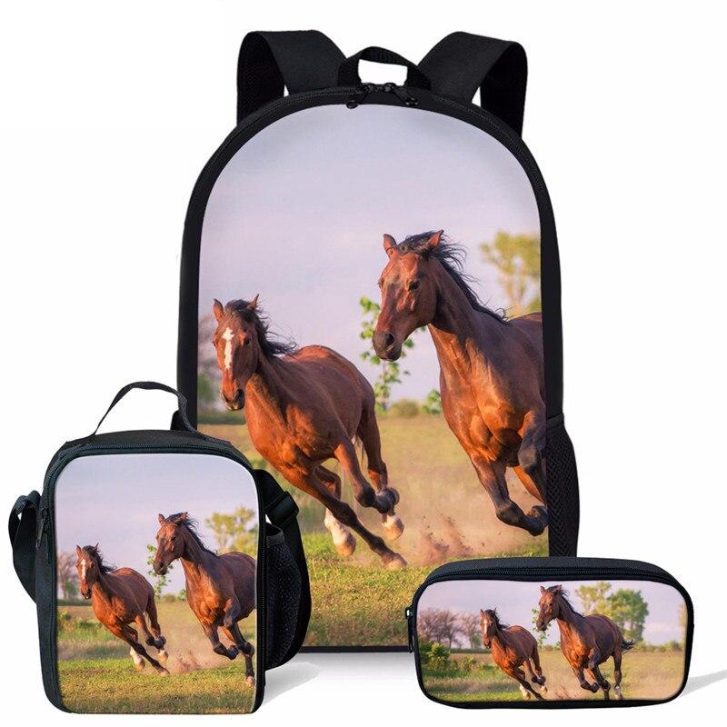 Selvagens da Moda Bolsa de Escola de Design para Meninos Bolsas de Livro Cavalos Meninas Estudantes Schoolbag Mochila Escolar Mochilas Ortopédicos 3 Pçs – Set