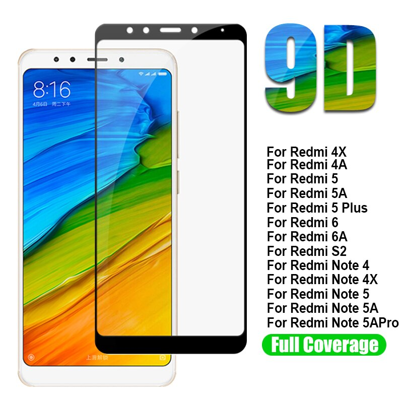 9D Protective Tempered Glass For Xiaomi Redmi 5 Plus 5A 4A 4X 6 6A S2 Glass Screen Protector Redmi N