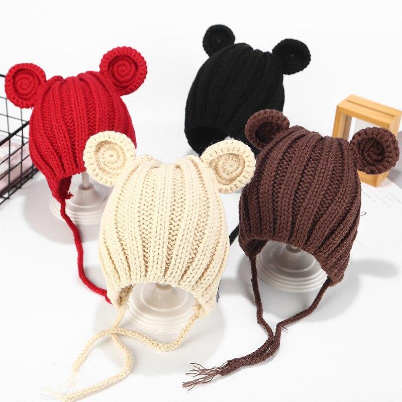 Вязаная Детская шерстяная шапка, шапка для новорожденных мальчиков и девочек, теплая детская осенне-зимняя шапка для девочек, детская шапка