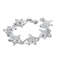 bohemia starfish bracelet for women charm girl friend gift 925 sterling silver bracelet hollow out star bracelet fashion jewelry
