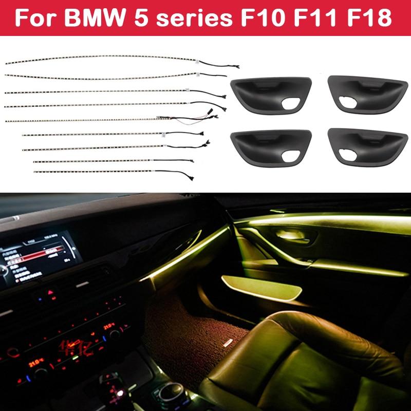 2-اللون الأزرق البرتقال مصباح سيارة النيون الداخلية الباب المحيطة ضوء الزخرفية الإضاءة ل BMW 5 سلسلة F10 F11 F18 2010-2017