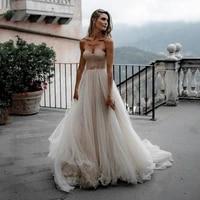 elegant bohemian wedding dress champagne sweetheart tulle corset bridal dress 2020 princess vintage wedding gowns custom made
