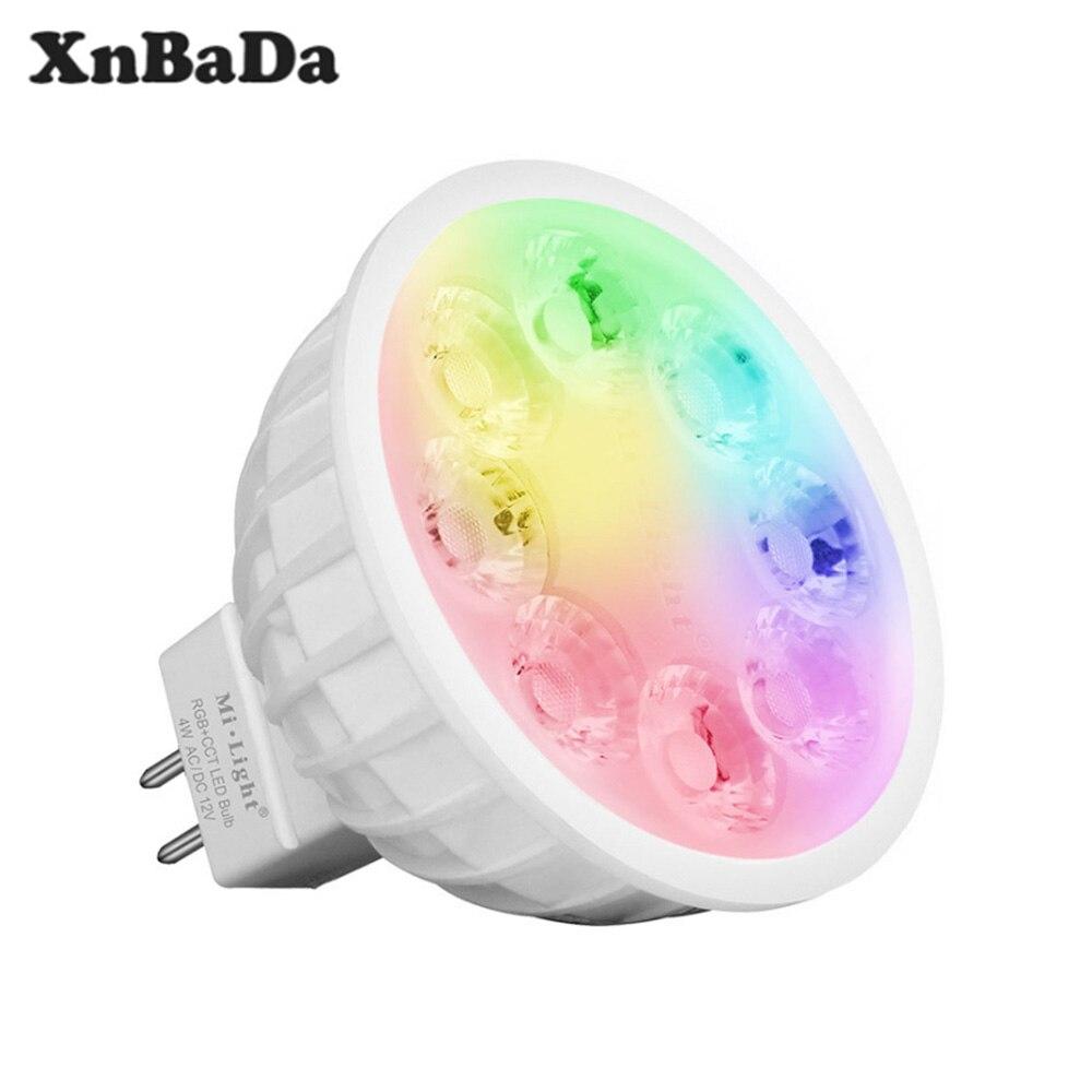 Milight FUT104 4W MR16 RGB + CCT LED proyector 2,4G Bombilla Led remoto inalámbrico LED lámpara AC100-240V