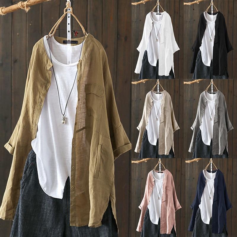 2019 Plus Größe ZANZEA Herbst Tunika Tops Frauen Casual Solide Revers Langarm Vintage Baumwolle Leinen Arbeit OL Lose Shirts bluse