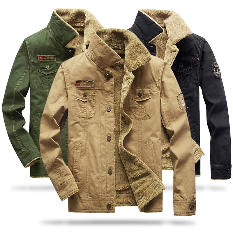 Новая плюшевая утепленная куртка Военная твердая Мужская однотонная теплая куртка для стирки воды Утепленная Мужская одежда для улицы 5XL фото
