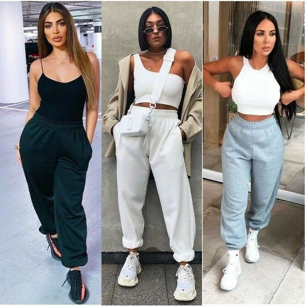 Women Casual Sport Pants Solid Running Jogger Pants Female Two Pockets Tracksuit Elastic Waist Ladie