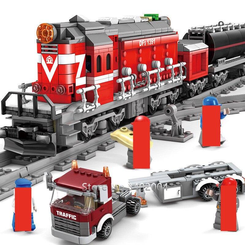 1080шт техника на батарейках DF5 железнодорожный поезд Brinquedos строительные блоки дирижер драйвер фигурки плоский трейлер Кирпичи Игрушки