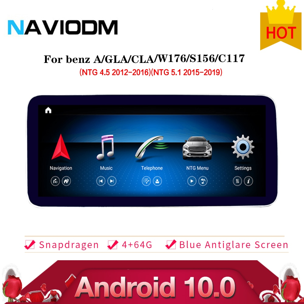 Android 10,0 4 + 64G sistema multimedia de coche reproductor de dvd del coche estéreo para mercedes benz clase GLA La CIA W176 X156 C117 2013-2018 gps