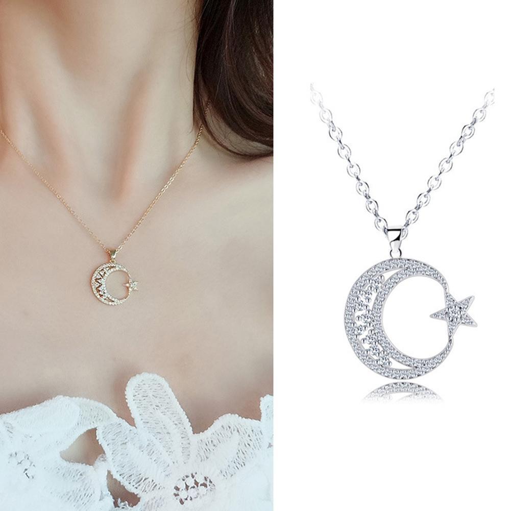 Collar con colgante de luna creciente y estrella para mujer, accesorios de...