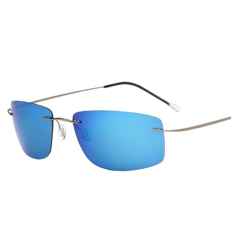 Солнцезащитные очки Мужские поляризационные, брендовые дизайнерские квадратные солнечные очки без оправы