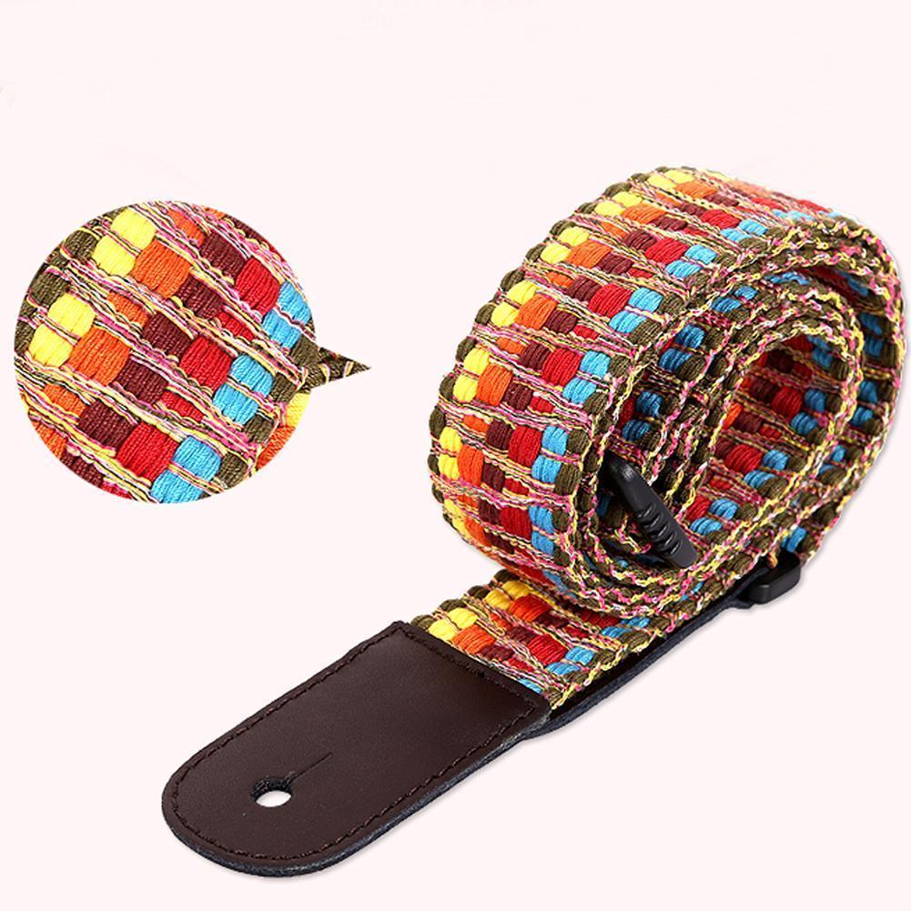 Ukelele de estilo étnico correa de hombro Arco Iris colorido pequeño cruzado ajustable accesorios ukelele guitarra Diagonal X8F3
