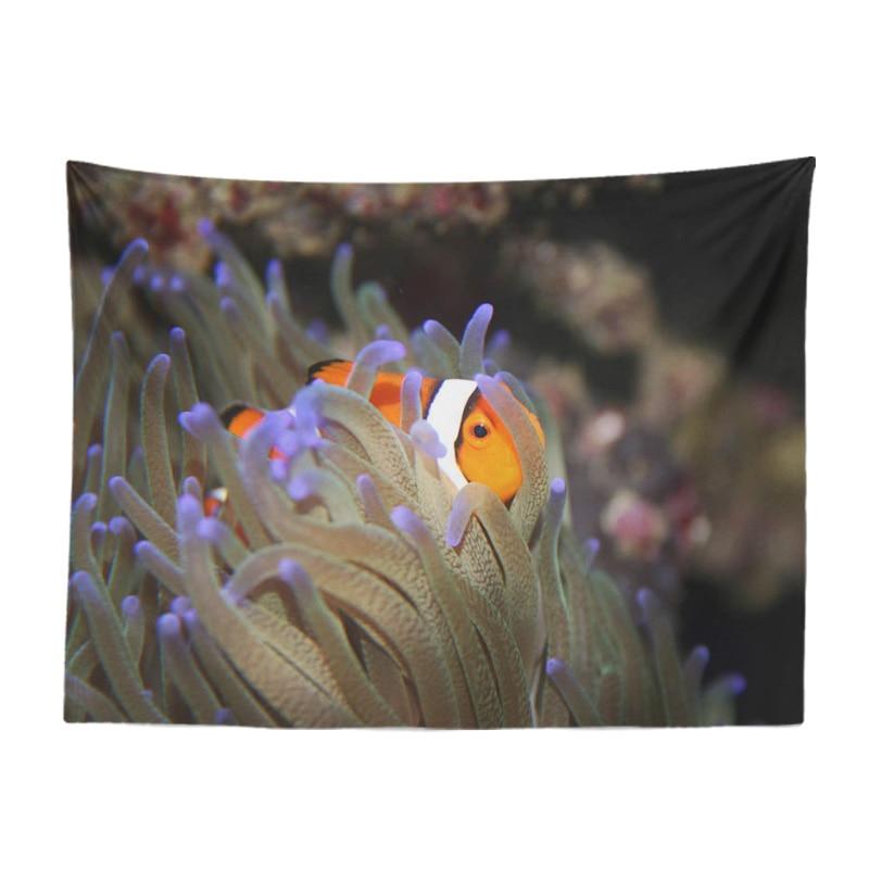 Hermoso mar Animal tapiz caballito de mar pez payaso Anemone pez león peces mariposa habitación decoración de la pared de cortina