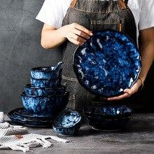 Ceramic Dinner Plates And Bowls Blue Dishes Creative Japanese Retro Kiln Changed Tableware Dinnerware Set Plate Platos De Cena