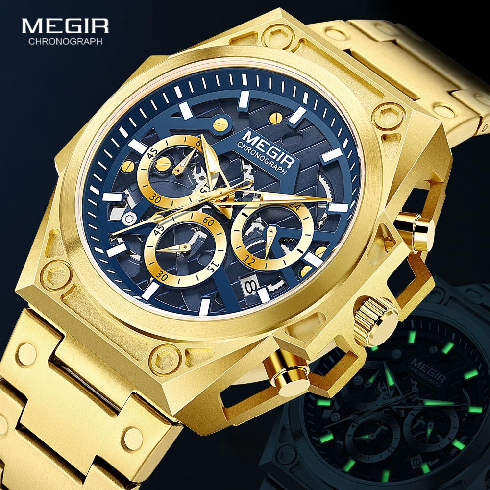 MEGIR الذهب ساعة للرجال كرونوغراف من الفولاذ المقاوم للصدأ ساعة معصم رجل فاخر مضيئة ساعات كوارتز relogio masculino ساعة reloj